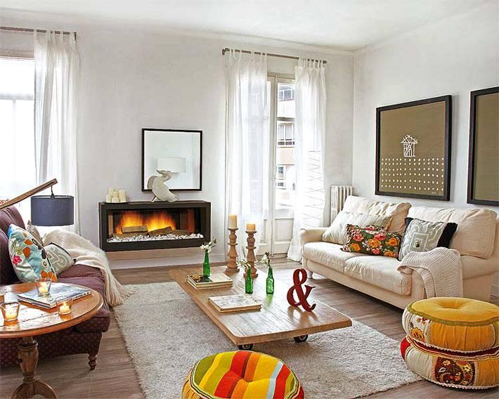 Интерьер квартиры с отоплением камином