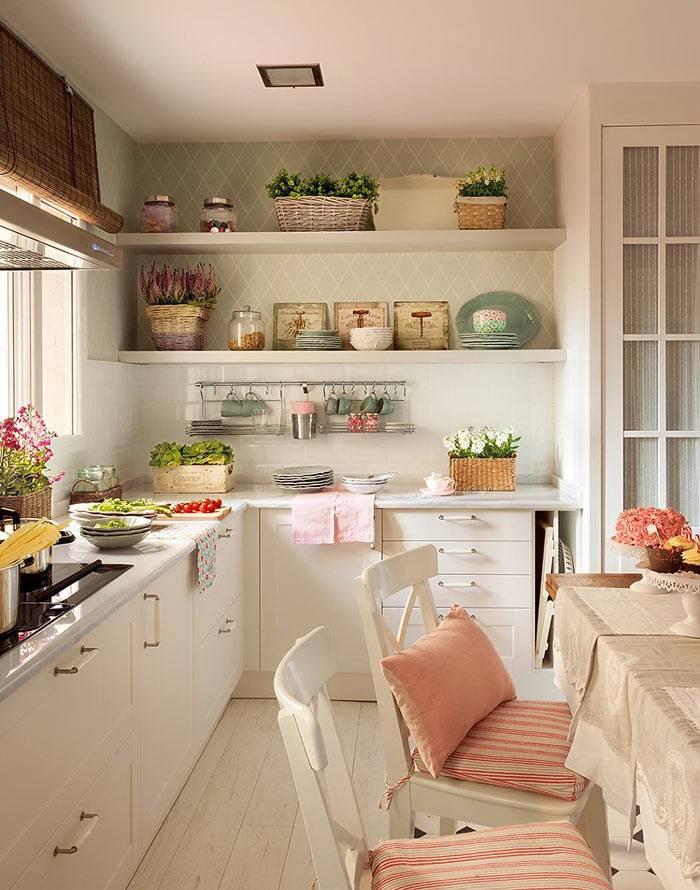 открытые полки с посудой и комнатными растениями в интерьере кухни