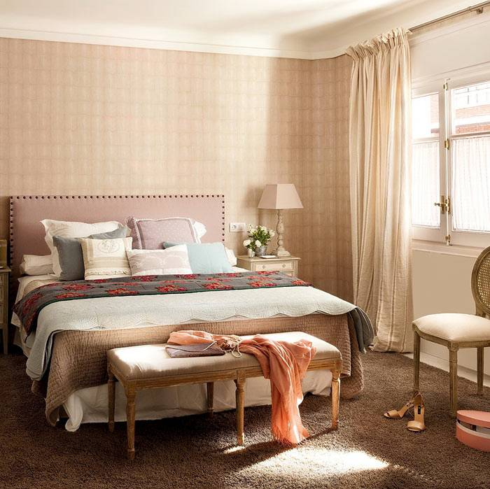 оттенки бежевого цвета в оформлении спальни для гостей