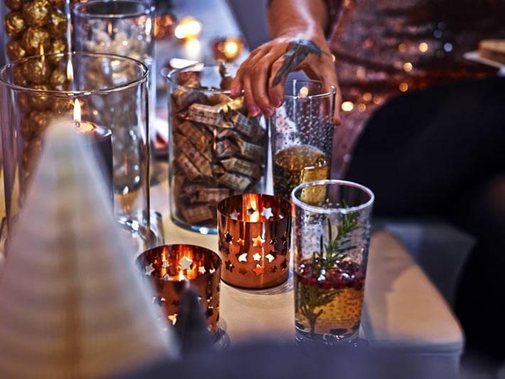 праздничные идеи для нового года со свечами и подсвечниками
