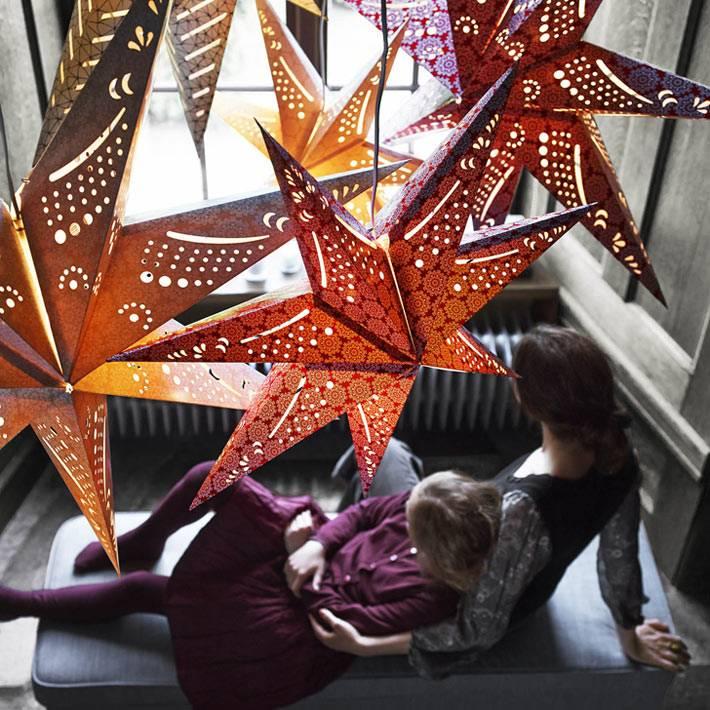 новогодние ажурные звезды ИКЕА фото