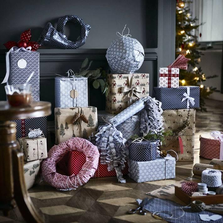 новогодние идеи упаковки подарков красивой бумагой