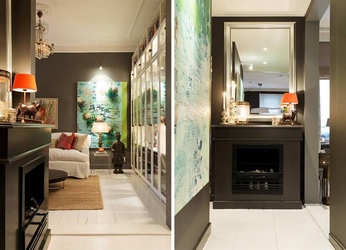 красивая квартира с темными стенами и ярким декором