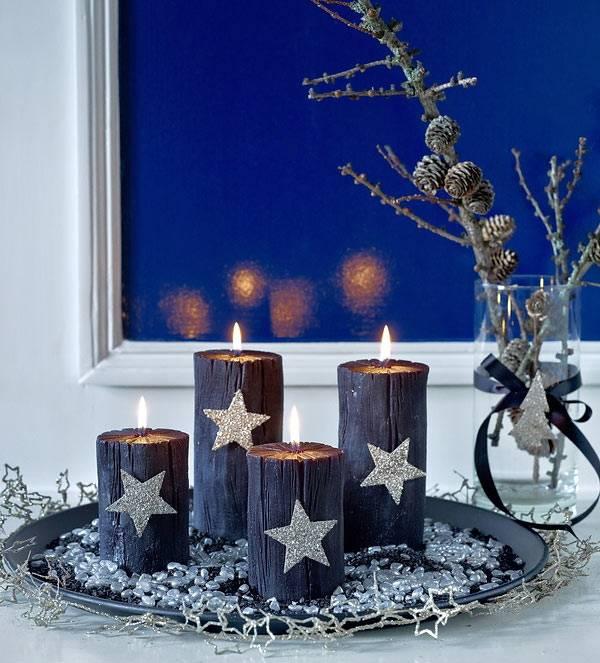 Оригинальное оформление новогодних свечей