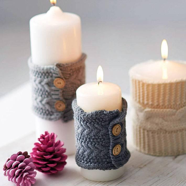 Вязаное украшение свечей фото
