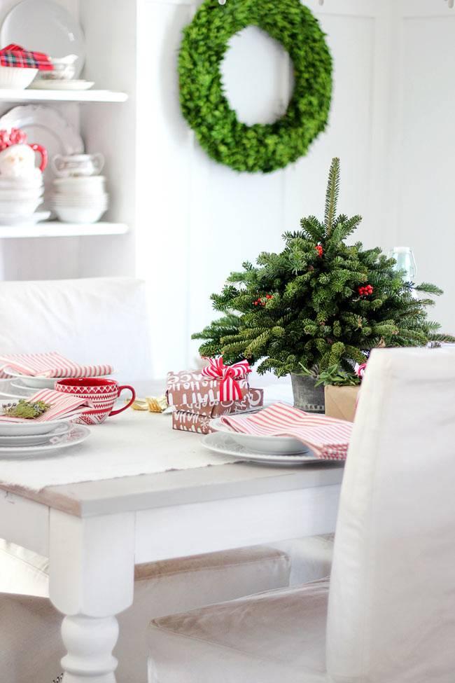 Маленькая елочка в новогодней сервировке стола
