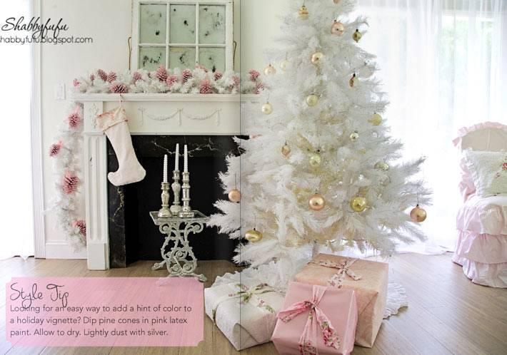 Красивый новогодний интерьер в пастельных тонах фото