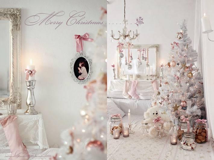 Бледные цвета в украшении новогоднего интерьера