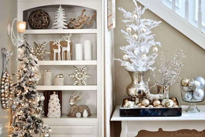 Приглушенные оттенки новогоднего украшения интерьера