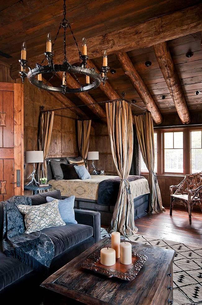 громоздкая люстра черного цвета в зимнем интерьере спальни
