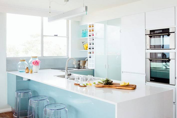 кухонная мебель с глянцевой белой поверхностью