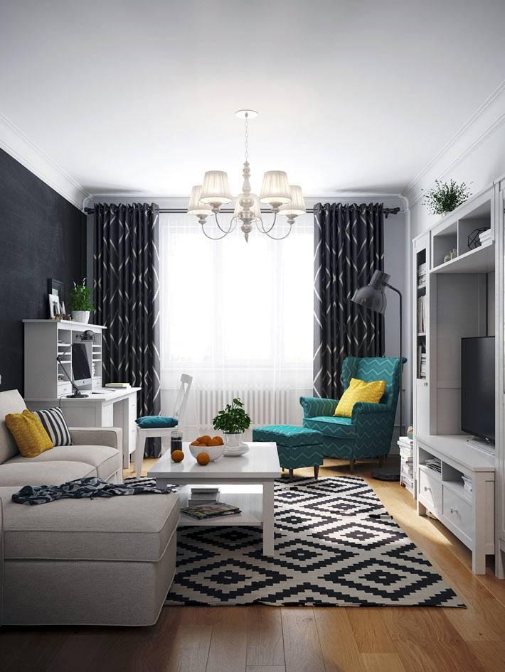 черная стена и белая мебель в интерьере гостиной фото