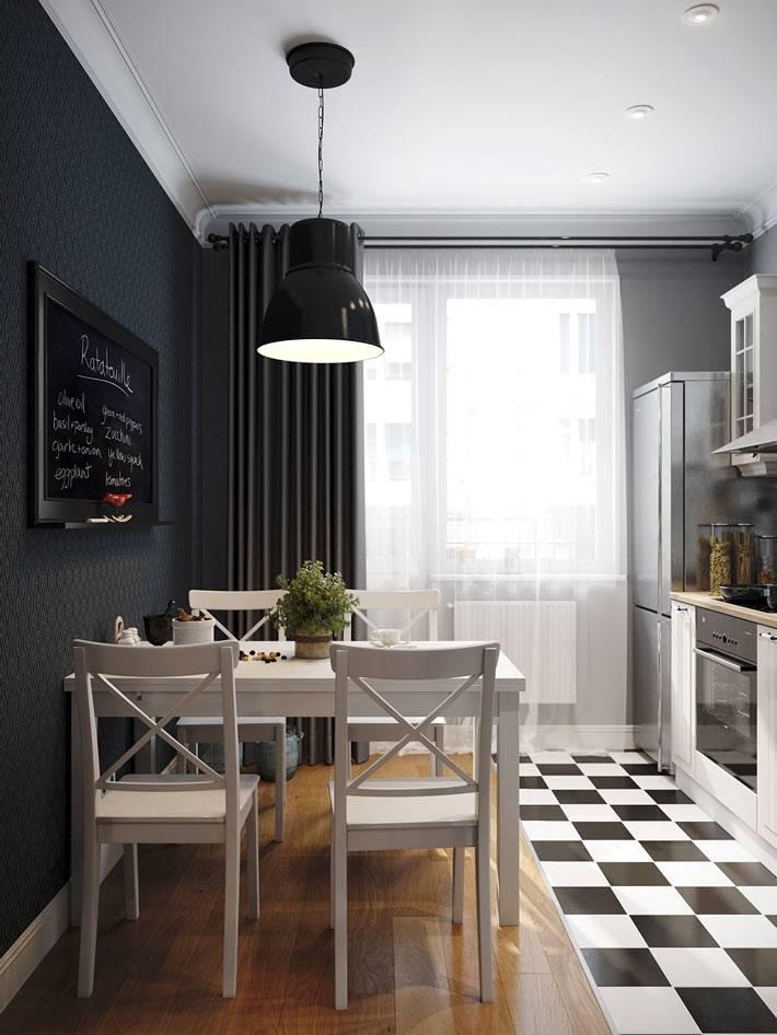 разное покрытие пола для зонирования кухни