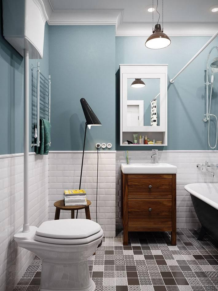 оформление стен ванной плиткой и покраской фото