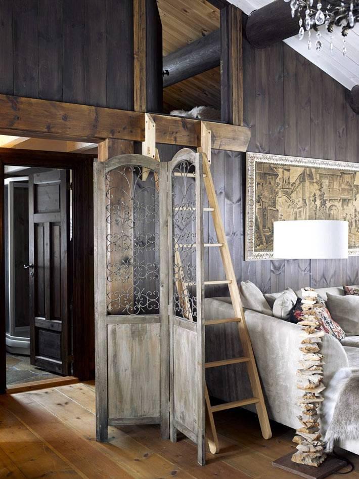 Уютный дизайн интерьера деревянного дома в горах