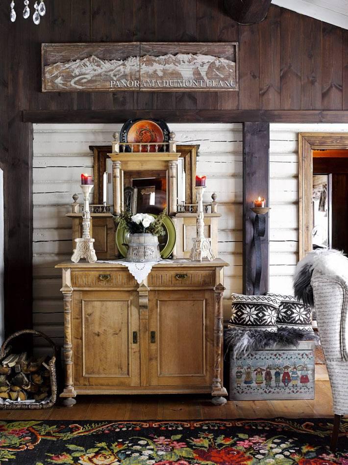 Самобытный декор дома в горах с подсвечниками