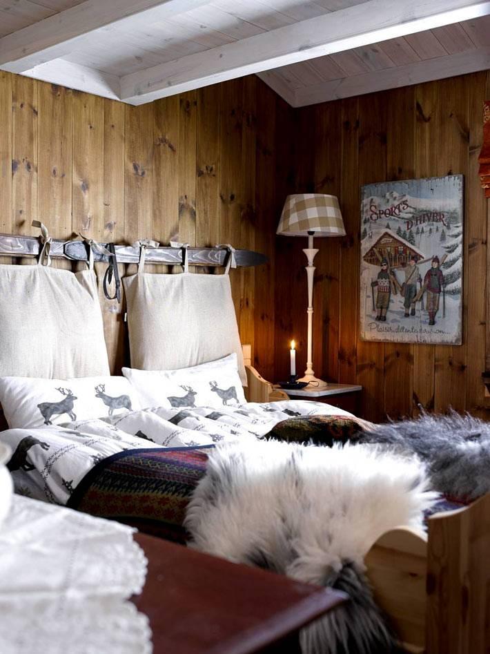 Уютный зимний дизайн интерьера спальни фото
