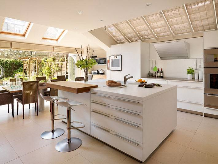 красивая кухня в доме с выходом во двор