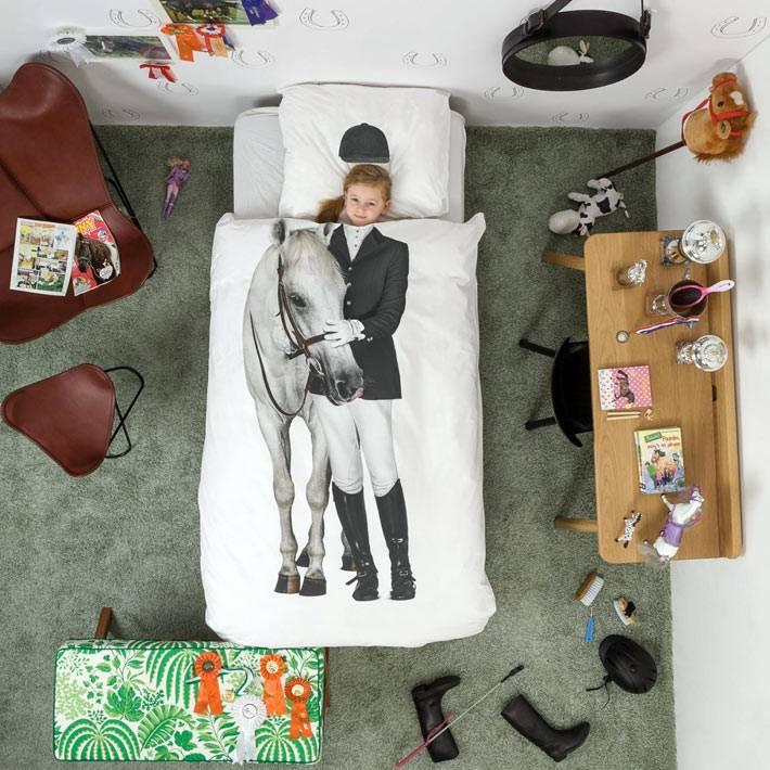 Красивое детское постельное белье - наездница с лошадью от Snurk