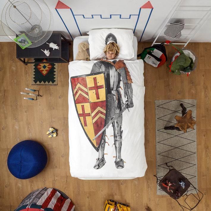 рыцарь на детском постельном белье фото