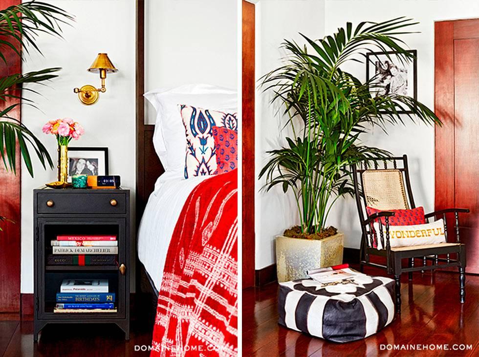 Яркие элементы в дизайне интерьера спальни Джессики Альбы