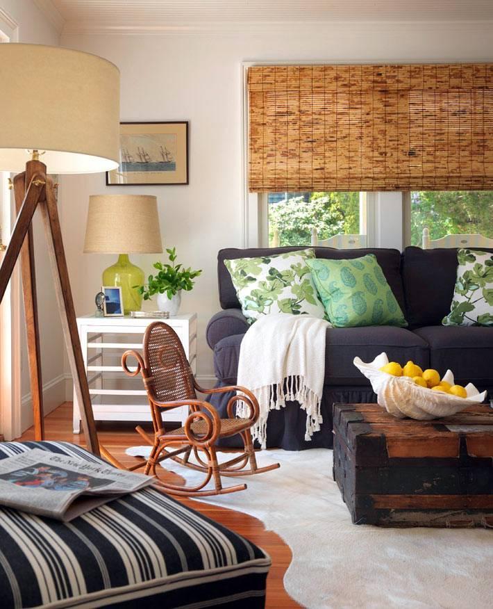 натуральная мебель в дизайне интерьера американского коттеджа