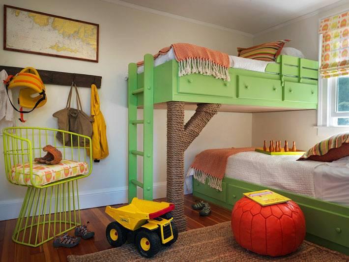 интерьер детской комнаты для двух детей фотос зелёными кроватями
