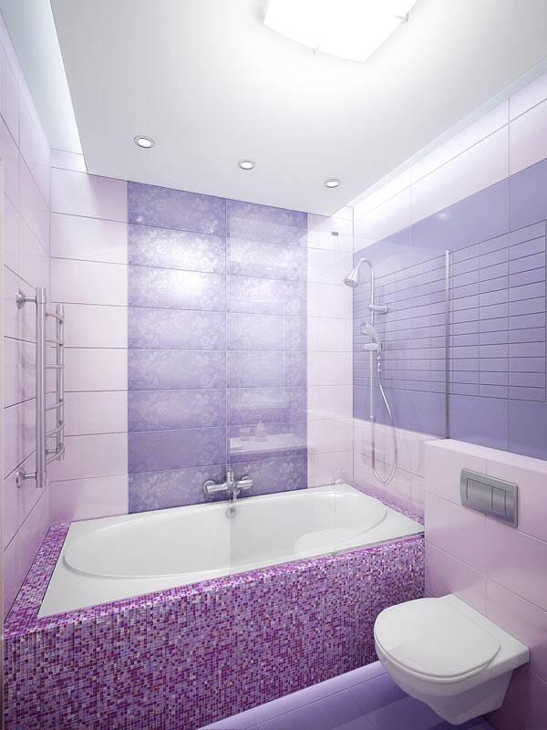 Светло-фиолетовый цвет в интерьере ванной