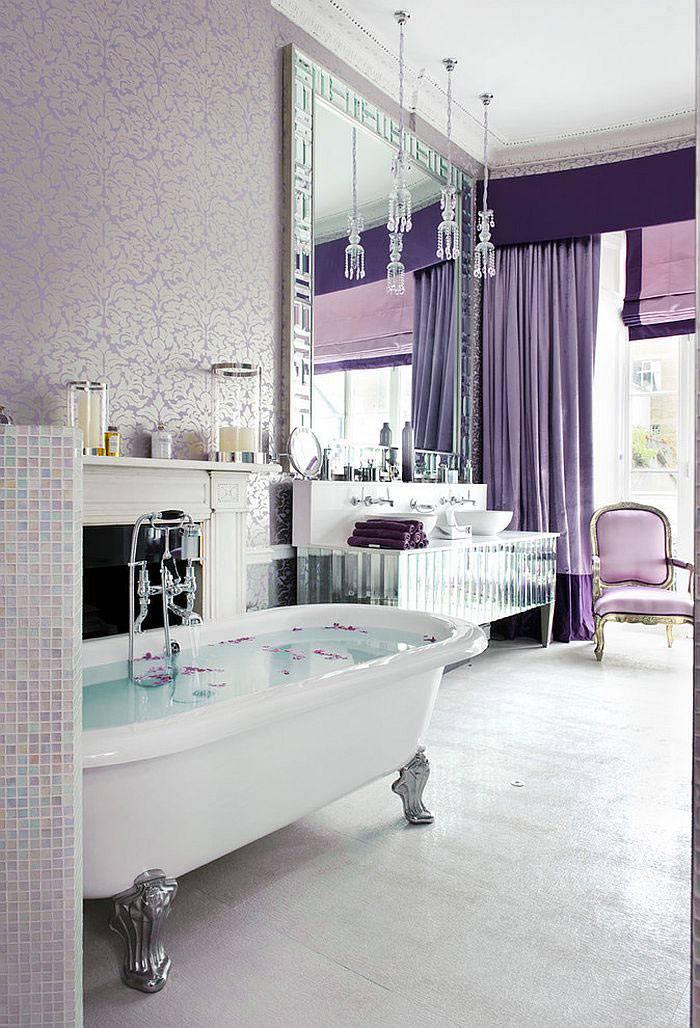 Нежный лиловый оттенок в интерьере ванной комнаты