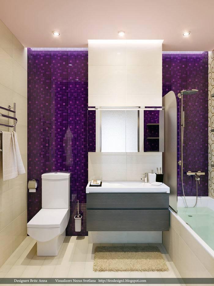 Удачное сочетание фиолетового и белого цвета в дизайне ванной комнаты