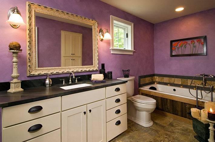 цвет фуксии в оформлении ванной комнаты в доме