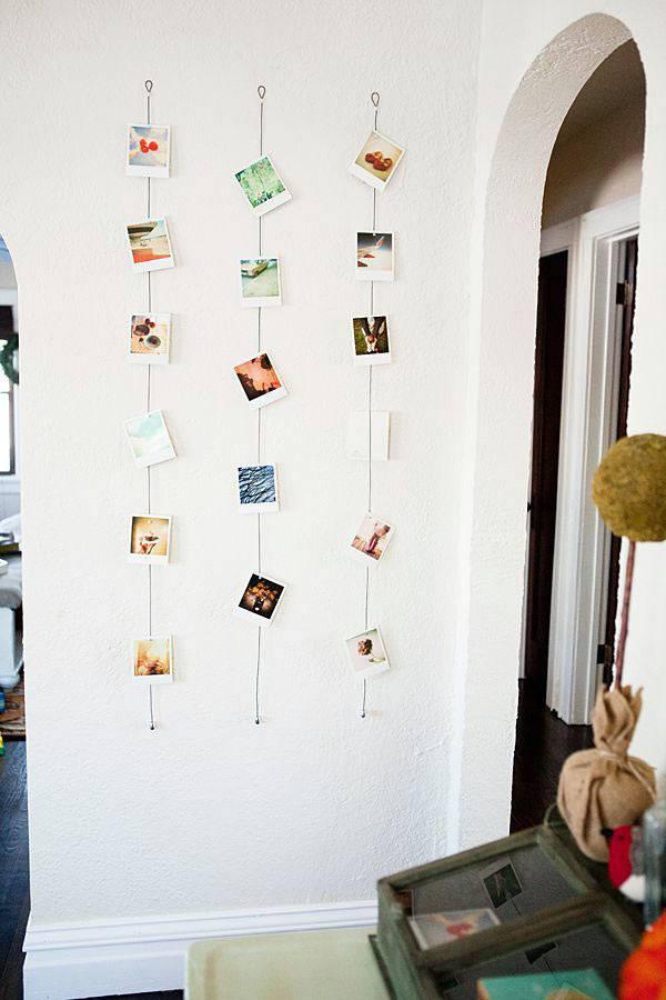 идеи развесить фото в комнате на леске переслать фото