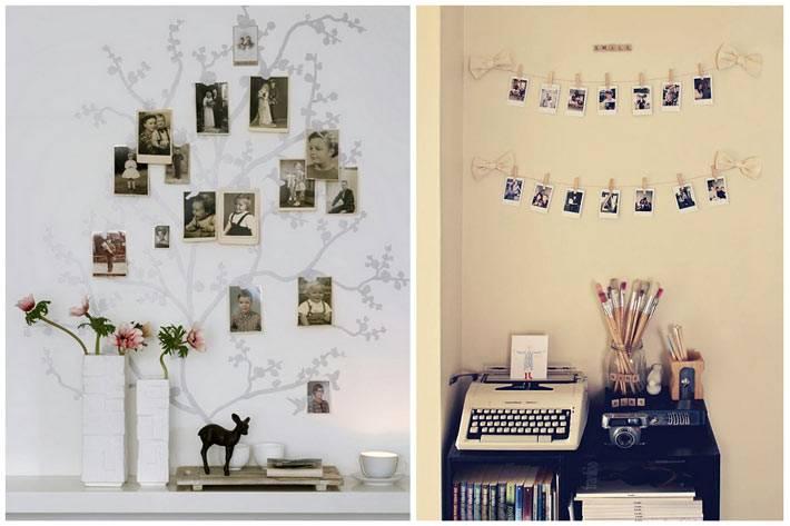 как развесить фото на стне в интерьере