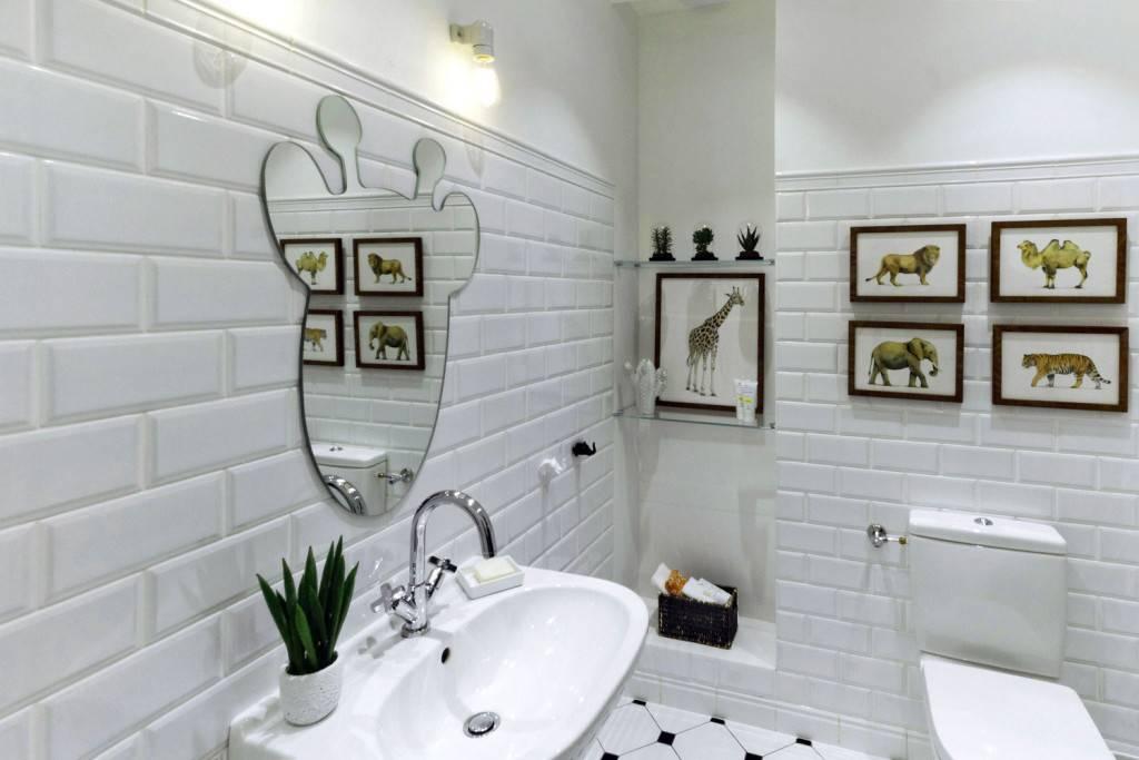 Керамическая плитка в ванной имитирующая кирпичную кладку
