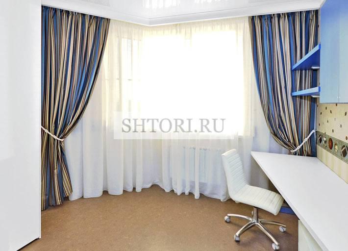 синие шторы для детской комнаты фото