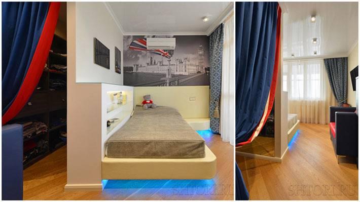 комбинированные шторы в интерьере детской комнаты