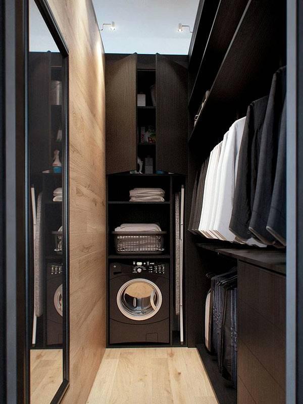 черная прачечная в гардеробной комнате фото