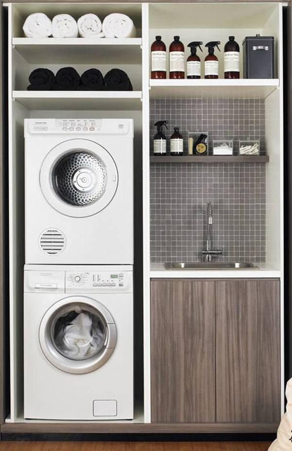 шкаф-прачечная с машинками и моющими средствами фото