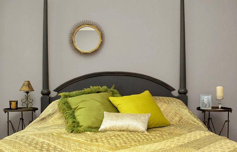 Сдержанный дизайн спальной комнате с зелёными акцентами