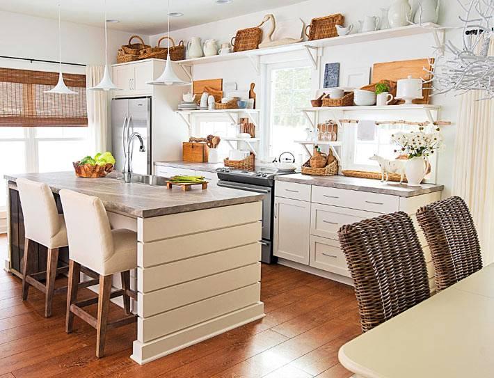дизайн кухни с открытыми полками в эко-стиле фото