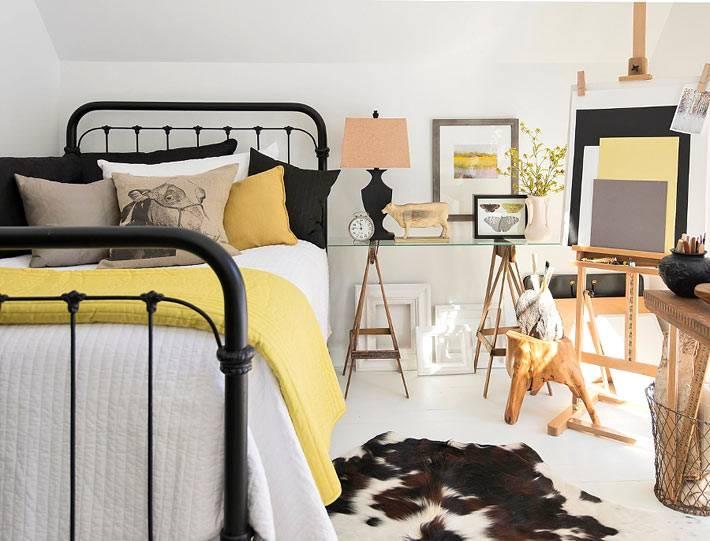 дизайн интерьера спальни с декоративными элементами