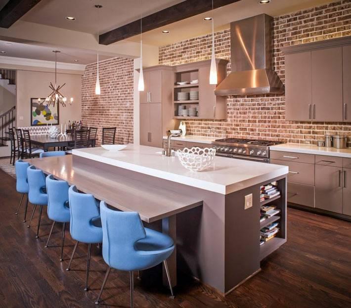кирпичные стены в интерьере кухни фото