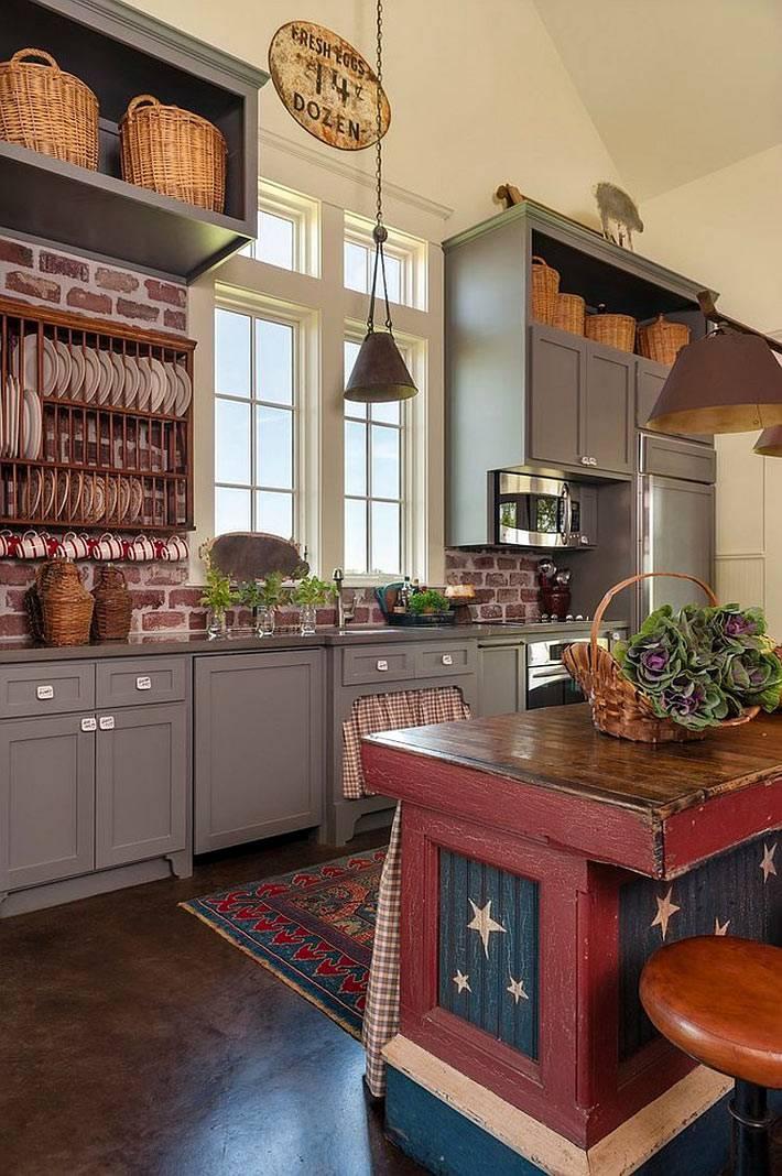 интерьер кухни с кирпичной стеной фото