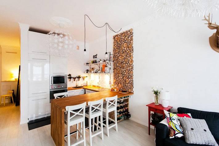 кухня, совмещенная с гостиной комнатой в интерьере квартиры