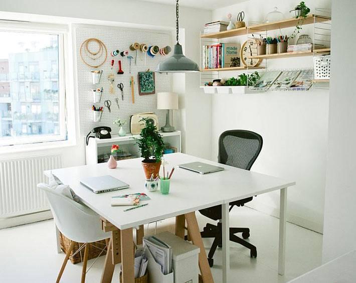 скандинавский интерьер домашнего кабинета