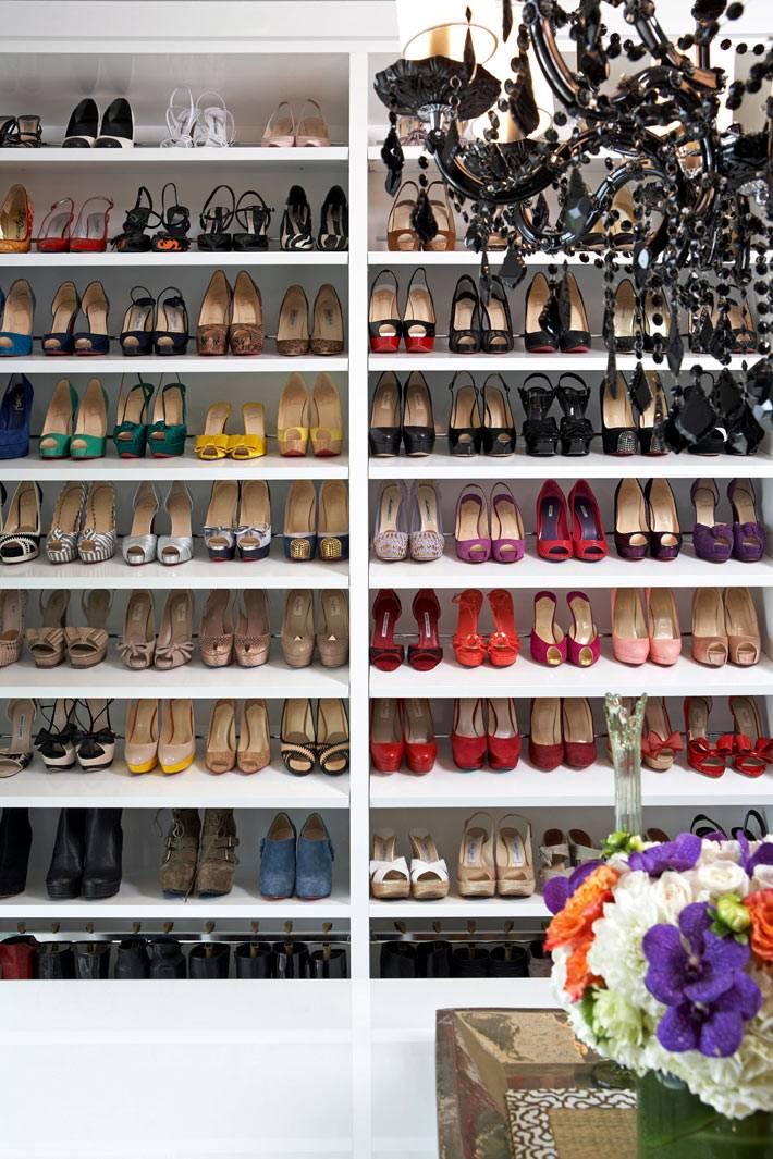 Много полок для хранения женской обуви