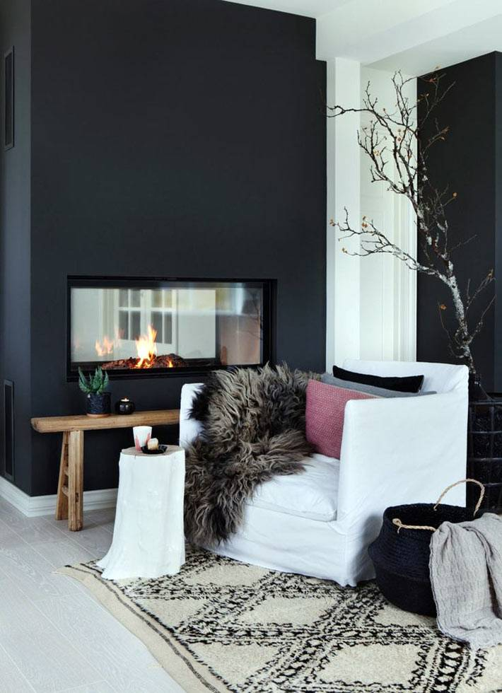 термокамин в интерьере комнаты с черными стенами фото