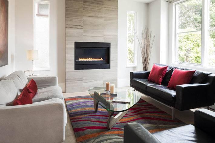 интерьер комнаты с современным термокамином фото