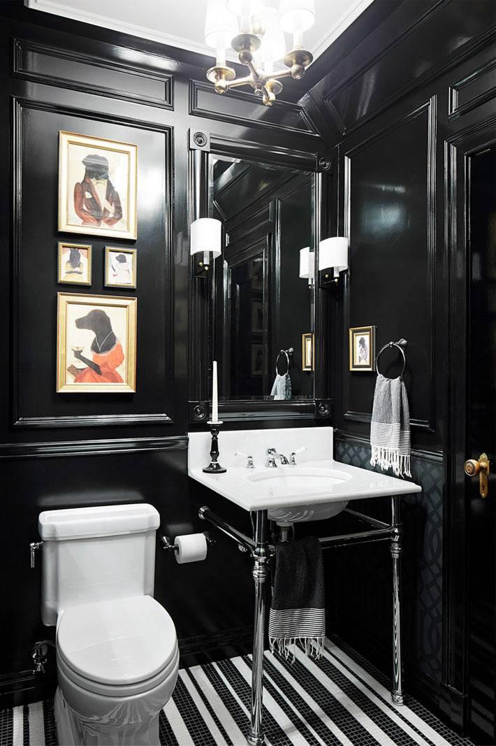 черный цвет в дизайне интерьера туалетной комнаты