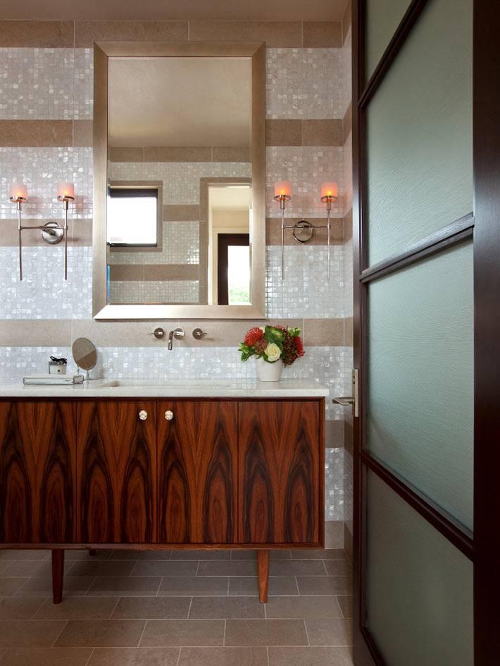 интерьер ванной комнаты в доме на озере остин в техасе